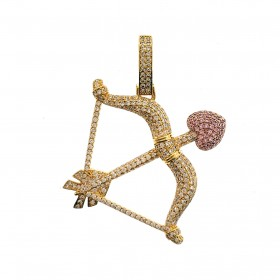 14K GOLD PLATED ICED OUT MICRO PAVE BOW PENDANT FOR MEN