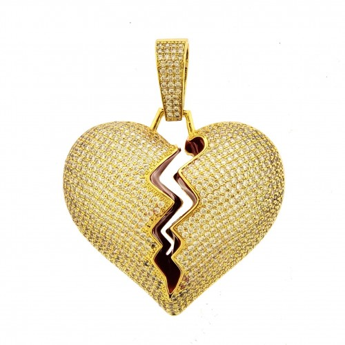 14K GOLD PLATED ICED OUT MICRO PAVE BROKEN HEART PENDANT