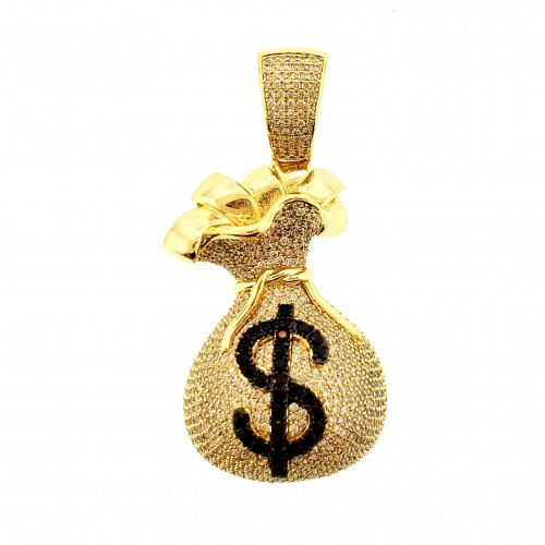 14K GOLD PLATED ICED OUT MICRO PAVE MONEY BAG PENDANT