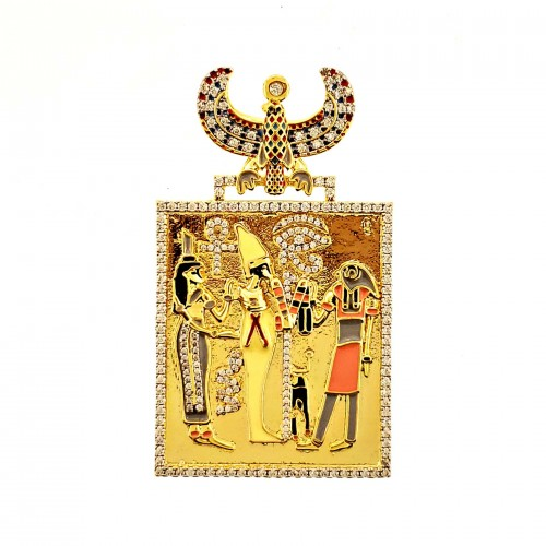 14K GOLD PLATED ICED OUT EGYPTIAN WALL PENDANT LARGE SIZE