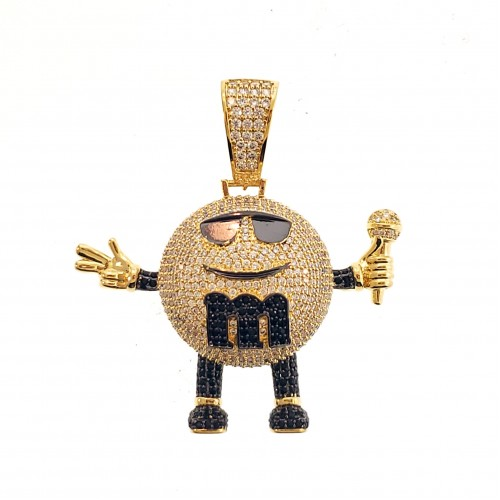 "14K Gold Plated Iced Out ""MM"" CZ Hip Hop Rapper Style Pendant"