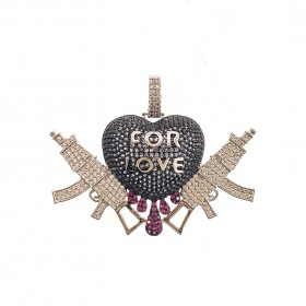 Iced Out Micro Pave CZ Heart With Rifle Hip Hop Rapper Style Charm Pendant