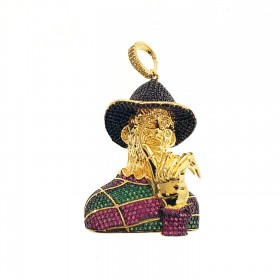 14K Gold Plated Iced Out Animation Character CZ Hip Hop Rapper Style Pendant