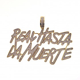 "14K Gold Plated Iced Out  ""Real Hasta"" CZ Hip Hop Rapper Style Pendant"