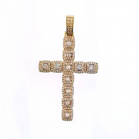 14K  GOLD PLATED ICED OUT BAGUETTE PAVE CROSS HIP HIP PENDANT