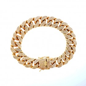 14K GOLD PLATED ICED OUT MIAMI CUBAN LINK HEAVY MENS BRACELET