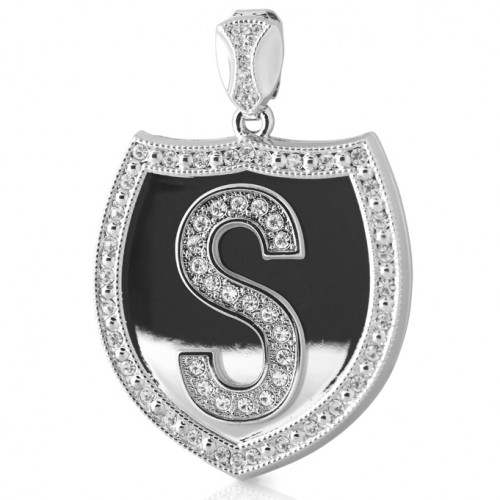 Custom Initial Silver Shield Pendant Chain Included For Men