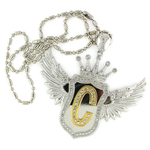 Hip Hop Custom Initial Silver Wing Pendant Chain Included For Men
