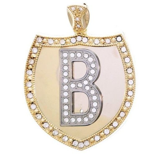 Custom Initial Gold Shield Pendant Chain Included For Men