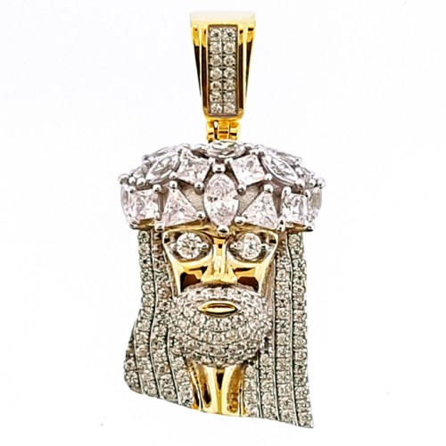 14K GOLD PLATED 925 STERLING SILVER JESUS FACE ICED OUT HIP HIP PENDANT