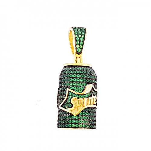 14K GOLD PLATED 925 STERLING SILVER GREEN SPRITE HIP HOP MENS PENDANT