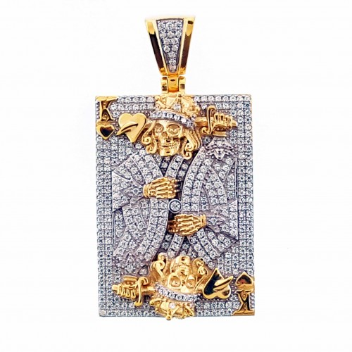 14K Gold Plated 925 Sterling Silver Card Pendant
