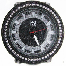 .08 CT Diamond Watch Black Stainless Steel ZC Iced Out Men's Hip Hop Watch