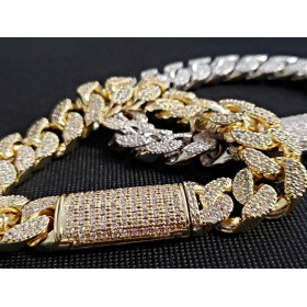 14K Gold Plated Iced Out Miami Cuban Curb Thick Bracelet For Men