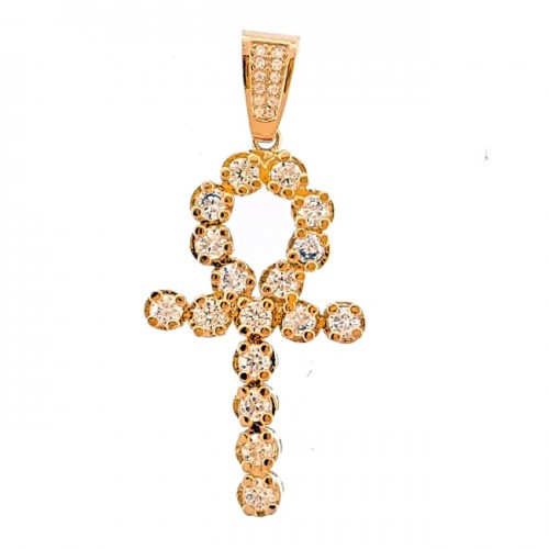 14K GOLD PLATED ICED OUT CROSS HIP HOP MENS CZ PENDANT