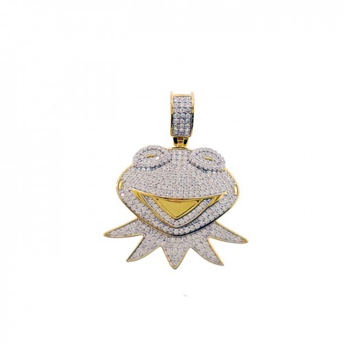 14K Gold Plated 925 Sterling Silver Hip Hop Rapper Iced Out Frog Pendant