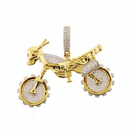 14K Gold Plated 925 Sterling Silver Hip Hop Rapper Iced Out Auto Bike Pendant