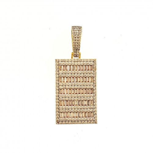 Mens 14K Gold Plated Iced Out Baguette Dog Tag Pendant for Hip Hop Rappers