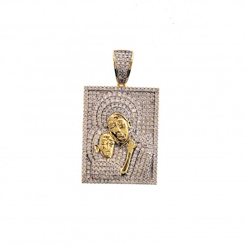 Mens 14K Gold Plated Iced Out  CZ Jesus Wall Paint Hip Hop Rapper Style Pendant