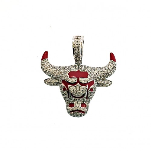 14K Gold Plated Iced Out Chicago Bull Pendant Small Size