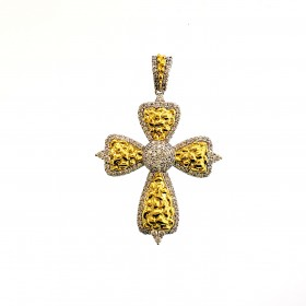 Mens 14K Gold Plated Iced Out  CZ Cross Hip Hop Rapper Style Pendant