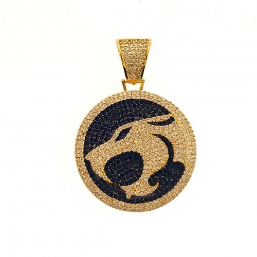 Mens 14K Gold Plated Iced Out  CZ cat Hip Hop Rapper Style Pendant