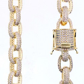 14K GOLD PLATED ICED OUT CZ ROUND LINK  CHAIN NECKLACE